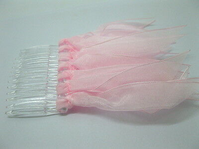 25 Pink Bridal Hair Comb Headpiece w/ Attached Ribbon