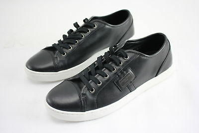 NWT $530 DOLCE & GABBANA Men's Cap-Toe Low-Top Blk Leather Sneakers Size 8.5