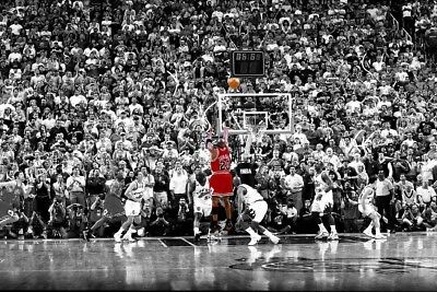 Michael Jordan 1998 Classic Last Shot basketball Colorized Poster 40x27 36x24""