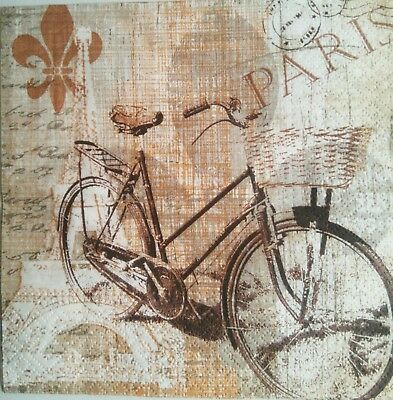 Paper Napkins x4 for Decoupage Vintage Bicycle.Servilletas decoupage bicicleta 4