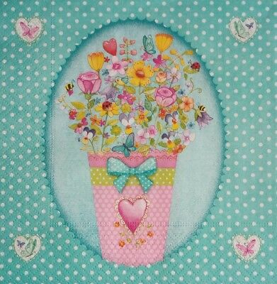4 x SERVILLETAS DE PAPEL DECOUPAGE, Napkins for decoupage, love flowers.