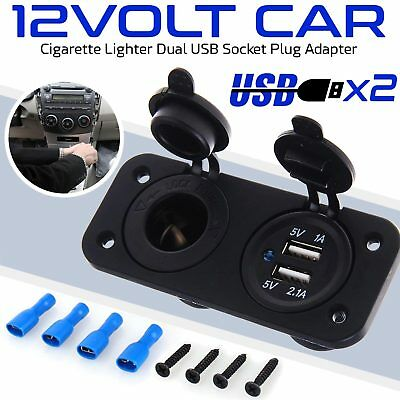 12V Car Cigarette Lighter Socket Splitter Dual USB Power Adapter Charger Black