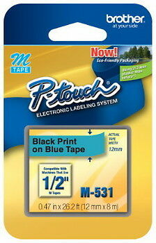 """NEW Brother M531 P-Touch Label Tape 1/2"""" Black on Blue (12mm) Ptouch M-531"""
