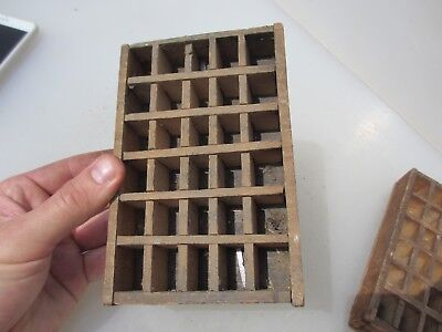 Antique Wooden Printers Drawer Storage Tray Compartments Vintage Old Stamp Wood
