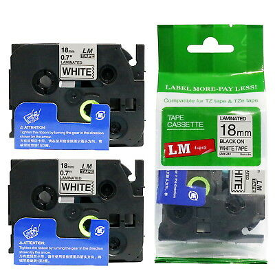 2/Pack 18mm Black on White Tape for P-touch Model PT1890, PT-1890 Label Maker