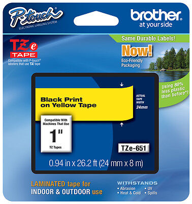 "Brother 1"" (24mm) Black on Yellow P-touch Tape for PT2610, PT-2610 Label Maker"