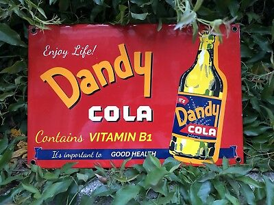 Dandy Cola Porcelain Steel Sign Soda Pop Can Beverage Gas Oil Pump Plate Coca B1