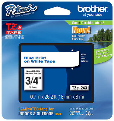 """Brother 3/4"""" (18mm) Blue on White P-touch Tape for PTD600, PT-D600 Label Maker"""