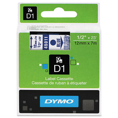 Dymo 45011 D1 Label Printer Tape 1/2 Blue on Clear LabelManager LM 12mm, 12 mm