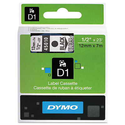 Dymo 45010 D1 Label Printer Tape 1/2 Black on Clear LabelManager LM 12mm, 12 mm