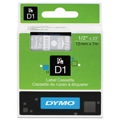 Dymo 45020 D1 Label Printer Tape 1/2 White on Clear LabelManager LM 12mm, 12 mm