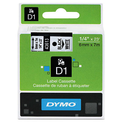 "Dymo 1/4"" (6mm) Black on White Label Tape for Dymo 4500 D1 Labels"