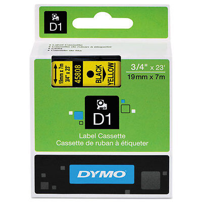 Dymo 45808 D1 Label Printer Tape 3/4 Black on Yellow LabelManager LM 18mm, 18 mm