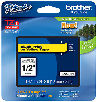 "Brother 1/2"" (12mm) Black on Yellow P-touch Tape for PT2610, PT-2610 Label Maker"