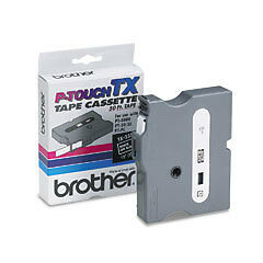 Brother TX-3351 1/2 White On Black P-touch Tape, TX3351 Genuine ptouch label