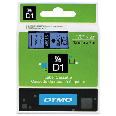 "Dymo 1/2"" (12mm) Black on Blue Label Tape for LabelManager 210D LM210D, LM 210D"