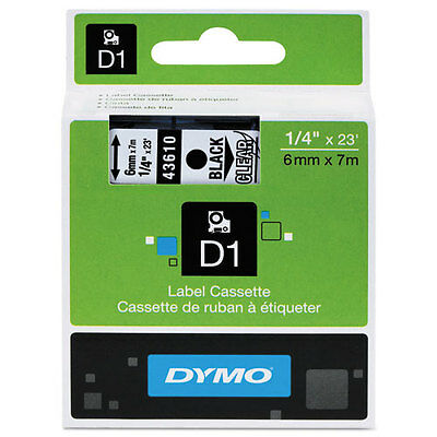 "Dymo 1/4"" (6mm) Black on Clear Label Tape for Dymo 4500 D1 Labels"