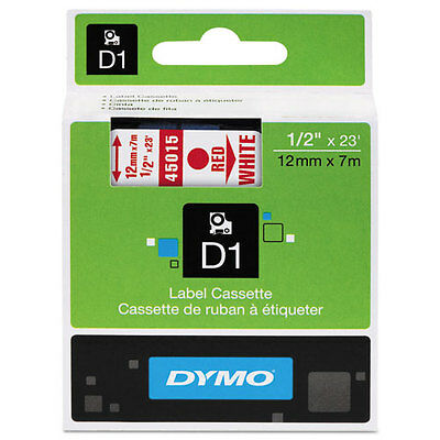 Dymo 45015 D1 Label Printer Tape 1/2 Red on White LabelManager LM 12mm, 12 mm