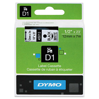 "Dymo 1/2"" (12mm) Black on White Label Tape for LabelManager 210D LM210D, LM 210D"