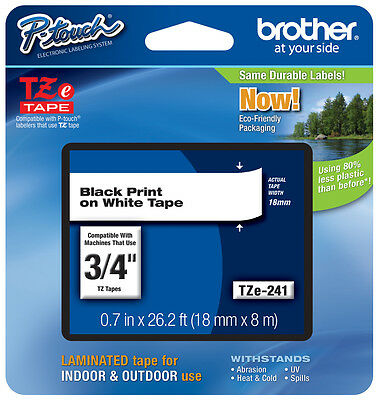 "Brother 3/4"" (18mm) Black on White P-touch Tape for PTE300, PT-E300 Label Maker"