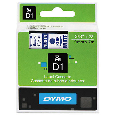 "Dymo 3/8"" (9mm) Blue on White Label Tape for Dymo 2000"