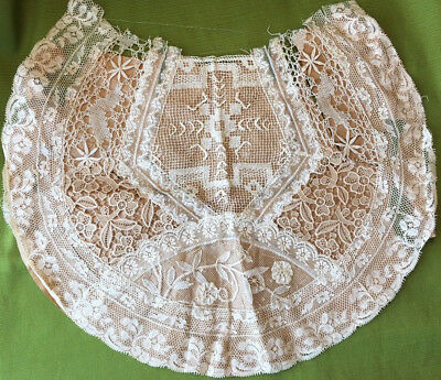 Rare UNUSED ANTIQUE Normandy France Jabot LACE Collar French Point deGaze bertha