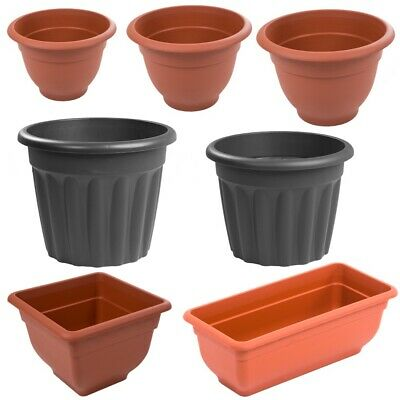 Strong Terracotta Graphite Round / Square Plant Pot Flower Pots Seed Planter