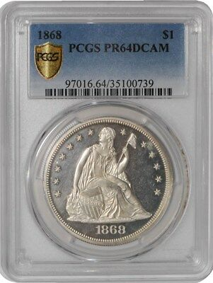 1868 Seated Liberty Dollar $ #937956-2 PR64 DCAM Secure Plus PCGS