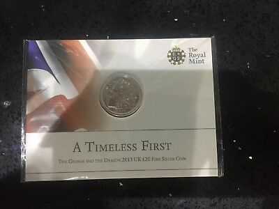 The Royal Mint St George and the Dragon 2013 UK £20 .999 pure Fine Silver Coin