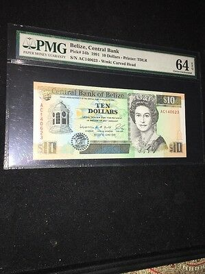 PMG Graded $10 Banknote 64 EPQ Choice Uncirculated Belize, Central Bank Pic54b