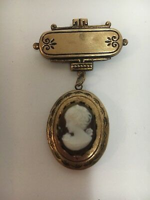Gold  LOVELY 1920's Almost Antique & Victorian Hanging CAMEO LOCKET Pendant