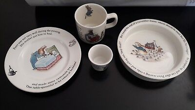 Coffret Assiette Bouillie Tasse Bebe Ceramique Wedgwood Beatrix Potter P.rabbit
