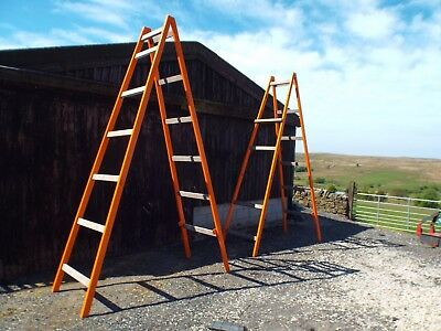 2 Large Builders Wooden Platform Trestles Painting Decorating Building Scaffold