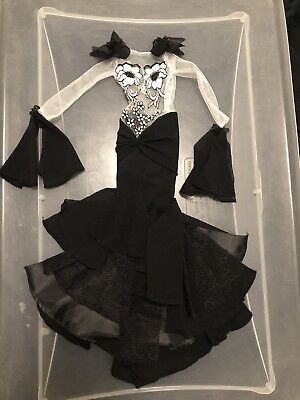 Evangeline Ghastly Evening Night Shade Black White Lace Doll Dress