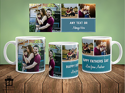 Personalised Photo Message Mug Gift - Coffee Mug - 3 Collage Fathers Day Cup