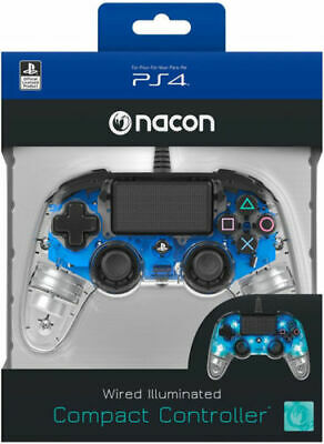 Controller Nacon Wired Ps4 Luminoso Compact Light Edition Led Blue Pad Nuovo