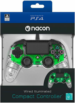 Controller Nacon Wired Ps4 Luminoso Compact Light Edition Led Verde Pad Nuovo