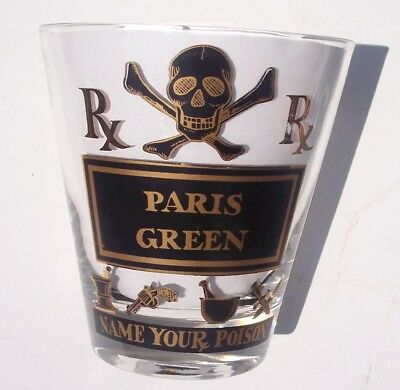 Vintage Georges Briard NAME YOUR POISON Old Fashioned Glass PARIS GREEN