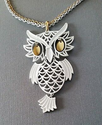 Awesome LARGE Vintage 70's Gold & White Enamel Articulated OWL Pendant Necklace