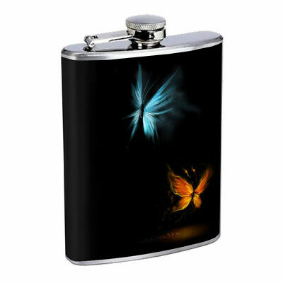 Blue and Orange Butterfly  Em1 Flask 8oz Stainless Steel Hip Drinking Whiskey