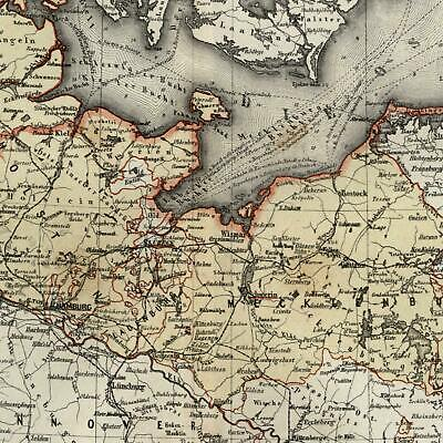 Germany northern Mecklenburg Schlewswig- Holstein 1867 Meyer small detailed map