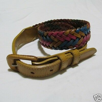 Tony Lama Vintage Belt Woman 28 Braided Multi-Color Leather Pink Turquoise Amber