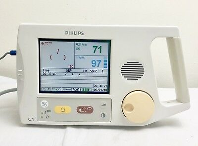 PHILIPS C1 COLOUR VITAL SIGNS PATIENT MONITOR & LEADS SpO2 NIBP