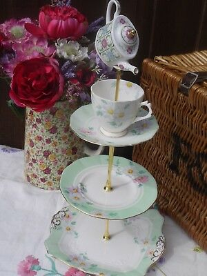 Vintage mint green tuscan plant art deco  mad hatter cake stand