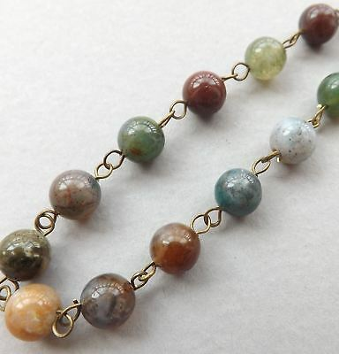 "6"" handmade gemstone chain-8mm natural Indian Agate beads"