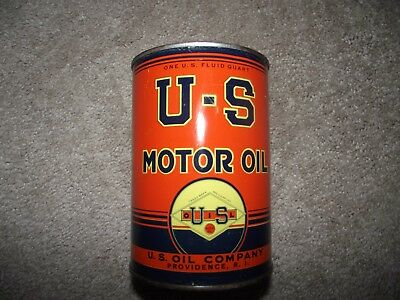 Scarce 1 Qt. Oil Can  U - S  Motor Oil Co. Providence, R.i. Marked For Services
