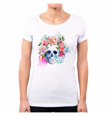 T-SHIRT DONNA SWEET ROSE ROSA WATERCOLOR FLOWER GRAPHIC SWEETIES VINTAGE NE0144A