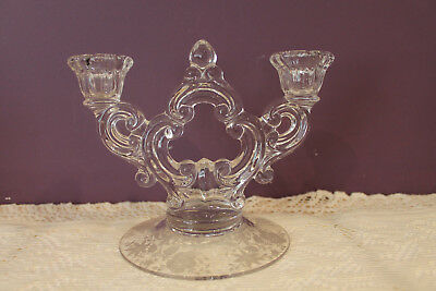 Cambridge Glass Candelabra Candle Holder  Etched Base Wildflowers