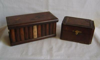 Victorian Sorrento Inlaid Olive Wood Row of Books Box & Other Inlaid Box A/F