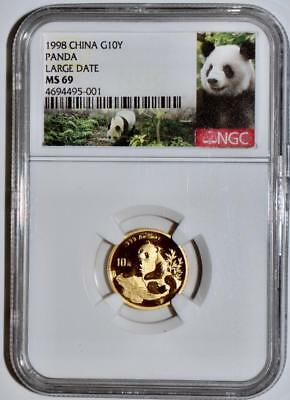 1998 China 10 Yuan Large Date Gold Panda Coin NGC/NCS MS69 Conserved!! Red Label